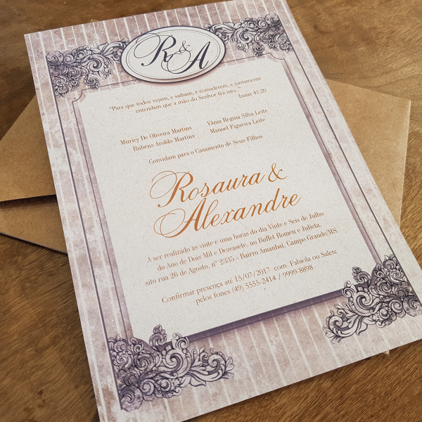 Convite Rosaura e Alexandre